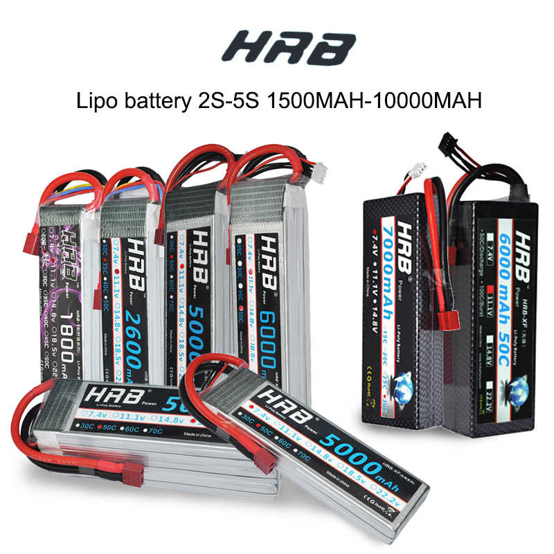 HRB Lipo RC 3 2 1 s s s 4S 5S 3.7 v 7.4 v 11.1 v 14.8 v 18.5 v Bateria de 1500 mah 2200 mah 3300 mah 4200 mah 5000 mah 5200 mah 6000 mah 10000 mah