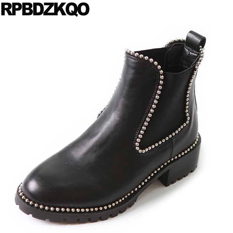 Black Round Toe Ankle Booties Chelsea Flat Stud Slip On Women Boots 2016 Waterproof Rivet Shoes British Chinese Female Short farvarwo formal retro buckle chelsea boots mens genuine leather flat round toe ankle slip on boot black kanye west winter shoes