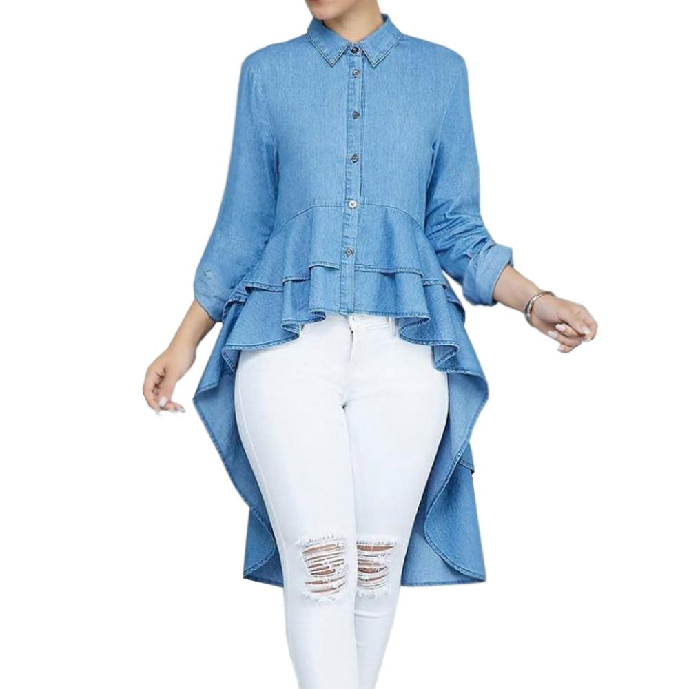 2018 Women Casual Button Down Neck Flouncing Ruffles Asymmetric Hem Slim Tops Blouse Shirt ...