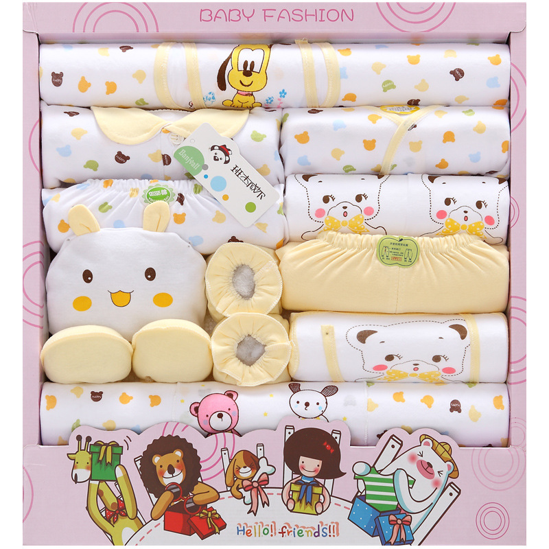 18 PCS/Set Cartoons Animal Printing Baby Clothing Set Full Months Newborn Clothes Suit Size 0-3 Months Baby's Sets Infants Gift 0cm in diameter large space baby hand footed printing mud set newborn baby hand and foot print hundred days old gift souvenir