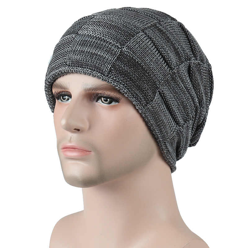 0675b84ba92 Winter Beanie Cap Male beanies Hats For Wen Knitted Wool Hat Plaid Skullies  Mens Casual Bonnet