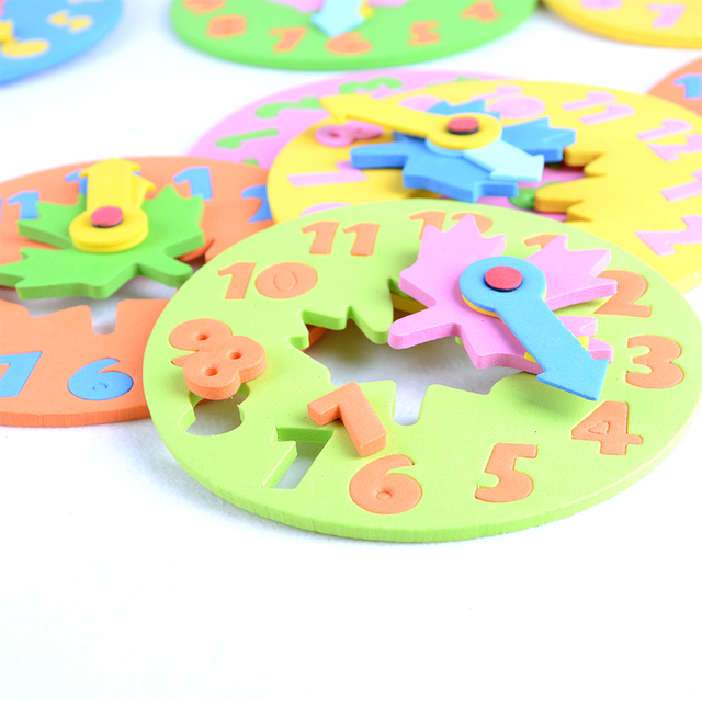 Kids DIY Eva Clock Learning Education Toys Fun Jigsaw Puzzle Game for Children Baby Toy Gifts 3-6 years old