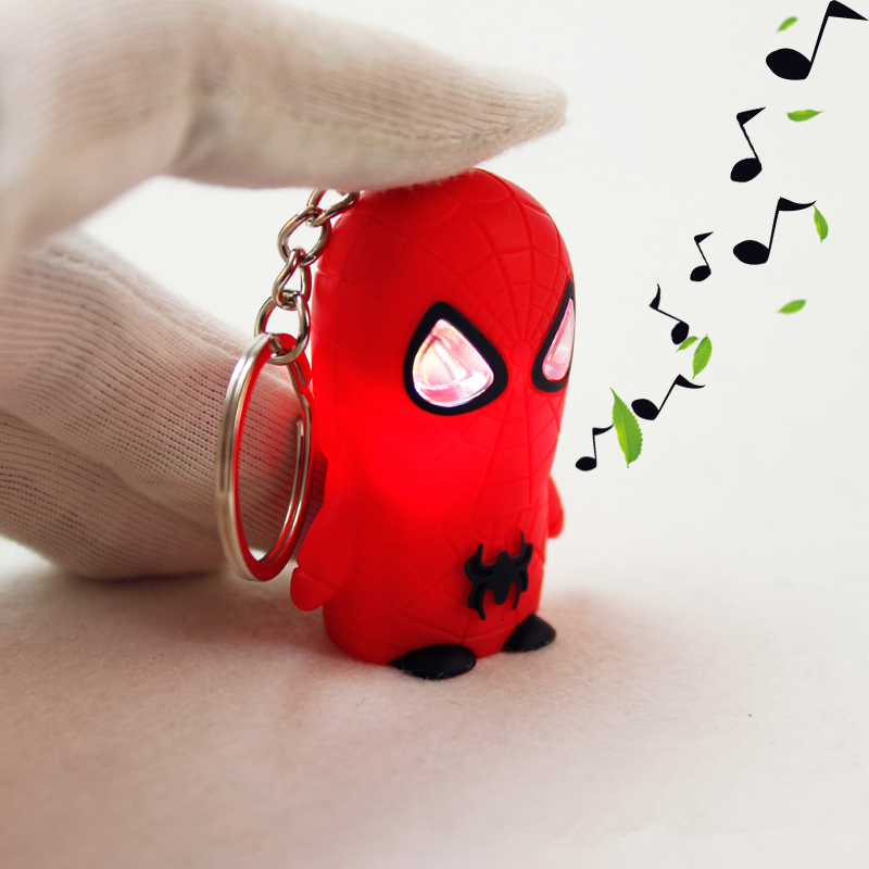 Newest 2018 Anime Spiderman Action Figure LED Spiderman Keychains Flash Sound Creative Gifts Novelty Toys