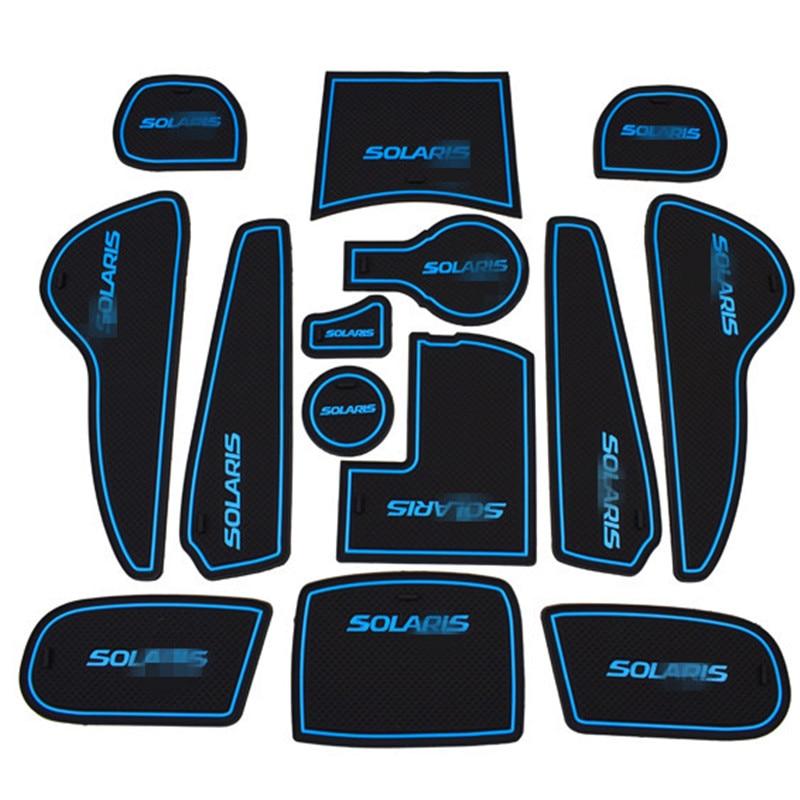 11 pcs/ensemble Non-Slip Intérieur Porte Pad Tasse Tapis pour Solaris Voiture Tasse Mat Pad pour Hyundai Solaris 2015 porte Fente Pad