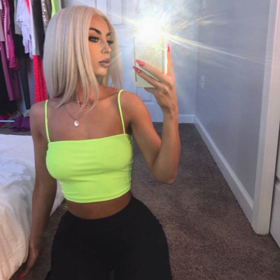 Neon Green Fashion Casual Sleeveless Women's Crop   Tops   Straps Sexy Backless Summer   Tank     Top   Cropped Short Cotton