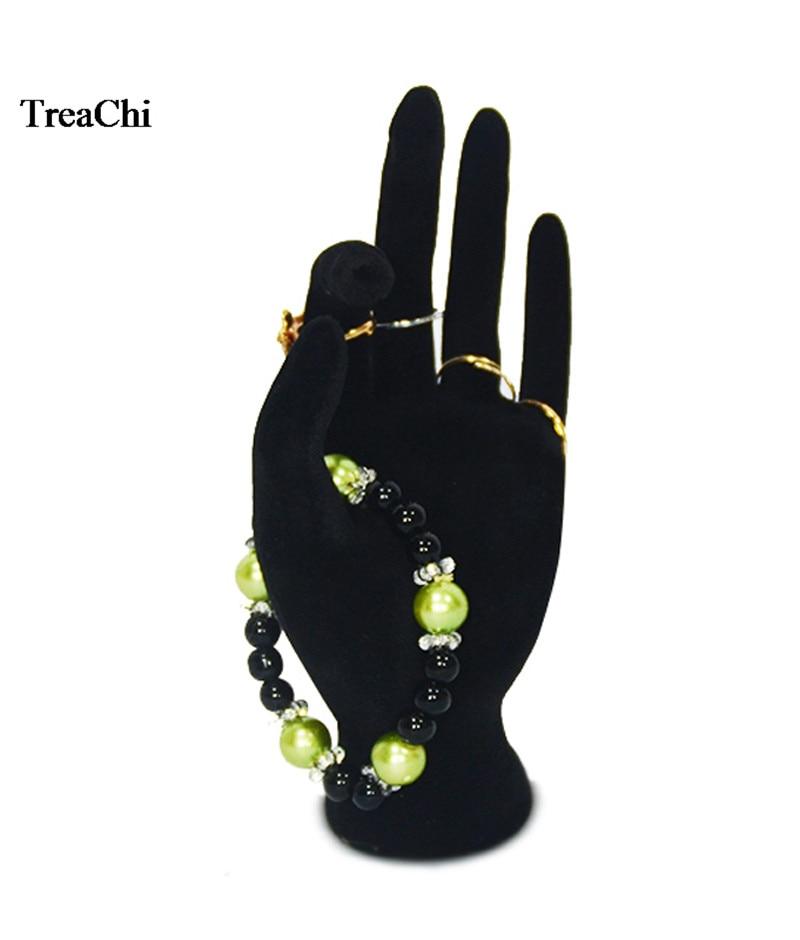Fashion Lady OK Shaped Hand Jewelry Display Rack Black Velvet Hand Model Ring Bangle  Watch Hanging Organizer Stand 11*17cm
