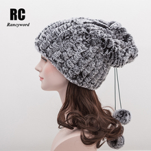 [Rancyword] Knitted Real Rex Rabbit Fur Beanie Hats For Women Natural Hat Neck Scarf Genuine Warmer Head Skullies RC1271