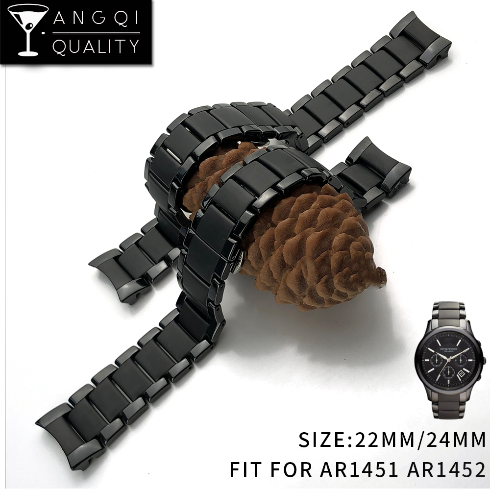 22mm 24mm de acero de cerámica para AR1451 AR1452 banda de reloj para Armani AR relojes correa de muñeca marca reloj de medio exfoliante curvada fin
