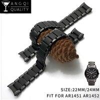 22 Mm 24 Mm Keramik Steel untuk AR1451 AR1452 Watch Band untuk Armani AR Jam Tangan Tali Pergelangan Tangan Merek Jam Tangan Samsung s3 S4 Ujung Melengkung