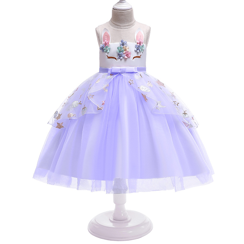 New Girls Unicorn Sequin Dress Headdress Kids Cute Cartoon Ball Gown Children Birthday Party Princess Dresses For Girls Clothes in Dresses from Mother Kids