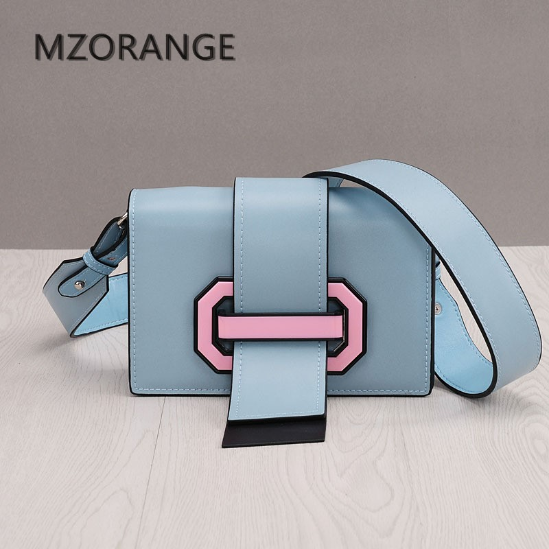 MZORANGE Genuine Leather Women Handbag 2018New design Fashion Flap Bag Vintage Clutch Shoulder bag Lady Crossbody Bag tongue bag 2017 women bag cowhide genuine leather fashion folding handbag chain shoulder bag crossbody bag handbag party clutch long wallet