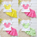 2016 Princess Baby Girls Cute Casual Clothes Pantskirts Outfits Kids Summer 2-7Y Tracksuit For Baby Kids Girls Clothing Sets