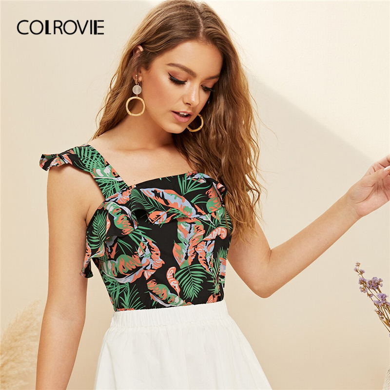COLROVIE Ruffle Trim Tropical Print Asymmetrical Neck Boho Crop Top Women Blouses 2019 Summer Vacation Holiday Blouse Shirt
