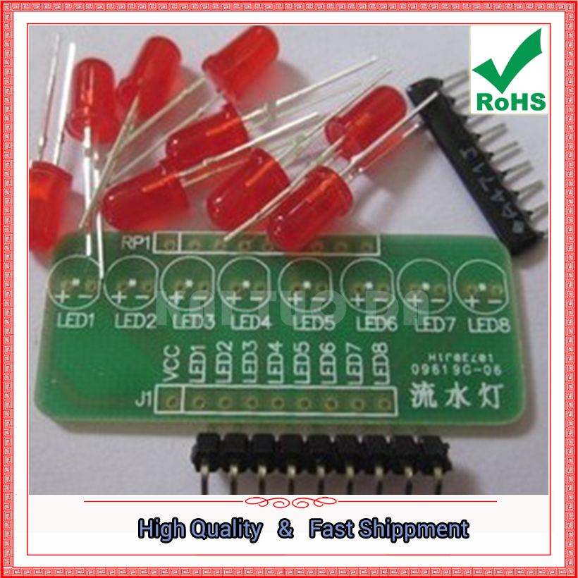 Free Shipping 5pcs 8-way running lights Marquee LED single-chip module DIY kit module board (C2A2)