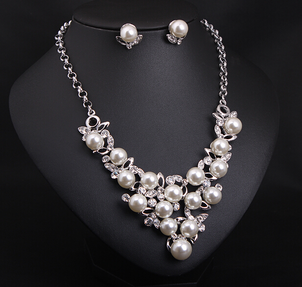 Fashion jewelry sets earring statement necklace silver for Diamond pearl jewelry sets