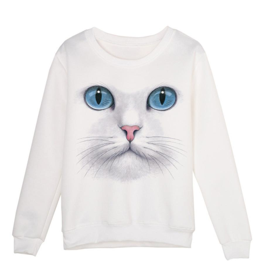 Fashion Autumn Womens Clothing, Women 3D Beads Cat O Neck Pullovers Long Sleeve Blouse Tops Blusas Feminina 2017 cheap clothes