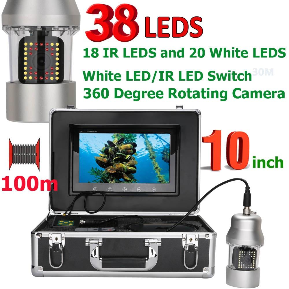 MAOTEWANG 10 pulgadas 50 m 100 M pesca submarina cámara de vídeo buscador de los pescados IP68 impermeable 38 led 360 grados que giran cámara