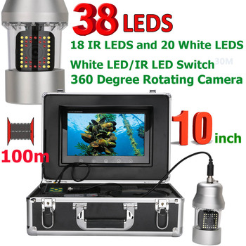 MAOTEWANG Underwater Fishing Video Camera 10  Inch 50m 100m  Fish Finder IP68 Waterproof 38 LEDs 360 Degree Rotating Camera