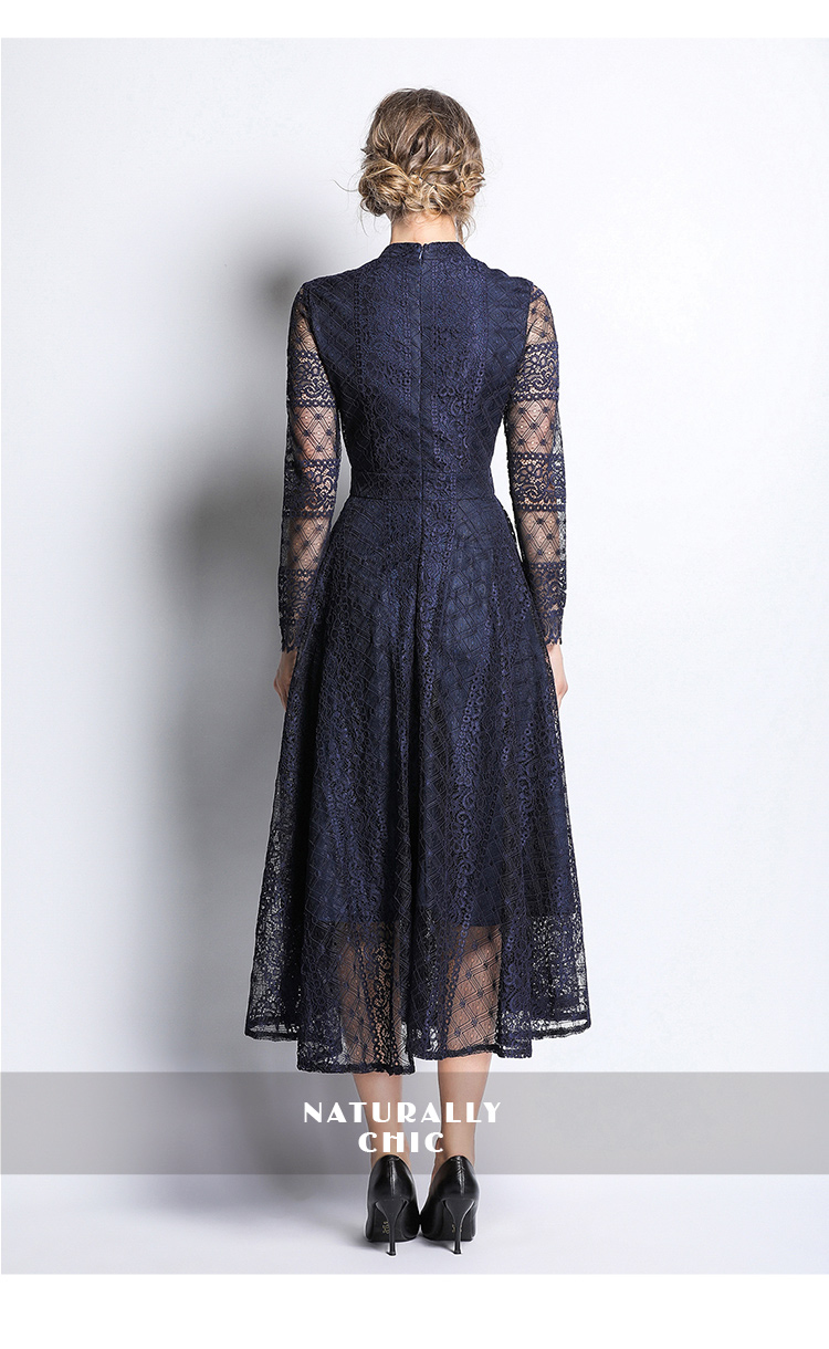 Dark Blue Lace Long Sleeve Retro Dress 6