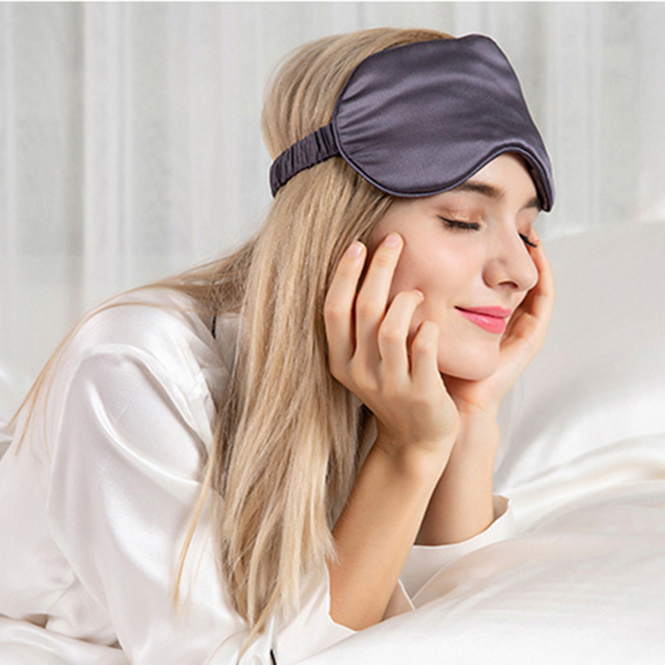 Silk Eye Mask Double-sided Pure Natural Silk Sleeping Eye Mask Eye Shade Cover Soft Portable Blindfold Travel Eyepatch