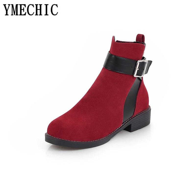 Bottes Ymechic 2018 Rouge Dames Chaussons Talons Jaune rouge Beige Strap Chaussures Pour Noir Chunky Femmes jaune noir Boucle Bas Beige Troupeau Cheville rBEwFB