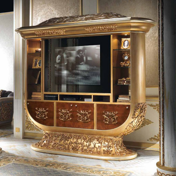 European Style Luxury Imperial Wood Carved Champagne Gold Tv Cabinet Stand