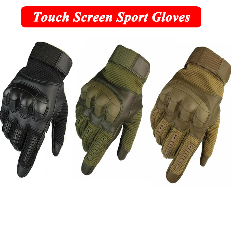 Army Gloves Combat Training Rubber Knuckle Protective Gloves Touch Screen Full Finger Tactical Gloves For Hunting Airsoft Hiking