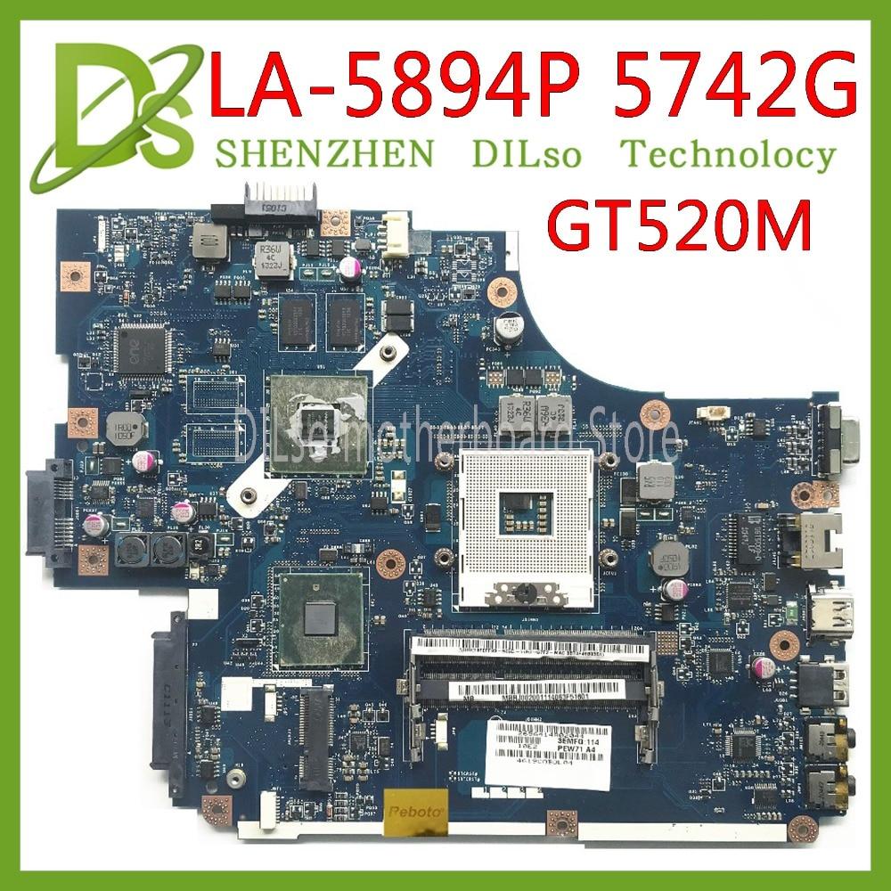 KEFU LA-5891P LA-5893P LA-5894P Motherboard For Acer  Aspire 5742G 5740 5741 LA-5894P Motherboard GT520M Test Work 100% Original