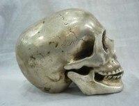 TNUKK Maravilhoso Tibetano Prata da morte Crânio cabeça netsuke escultura.
