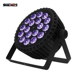 4 stks/partij Aluminium LED Platte Par 18x18W Verlichting DJ Par Blikjes Aluminium DMX 512 Licht DMX Dj Wassen Verlichting Podium Licht