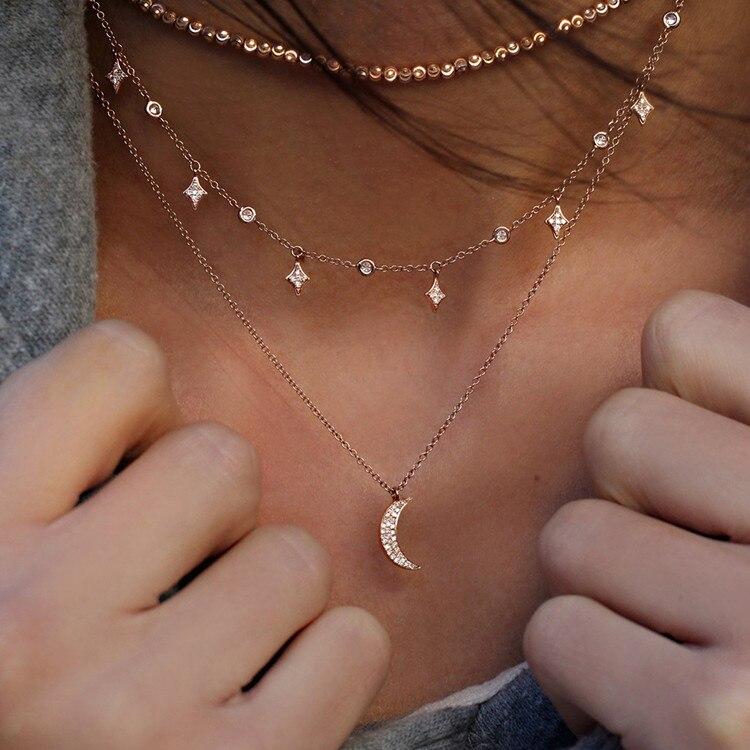 Богемное многослойное ожерелье с кулоном из кристаллов для женщин, золотые модные многослойные ожерелья и кулоны, ювелирные изделия - Окраска металла: NE-0205-17