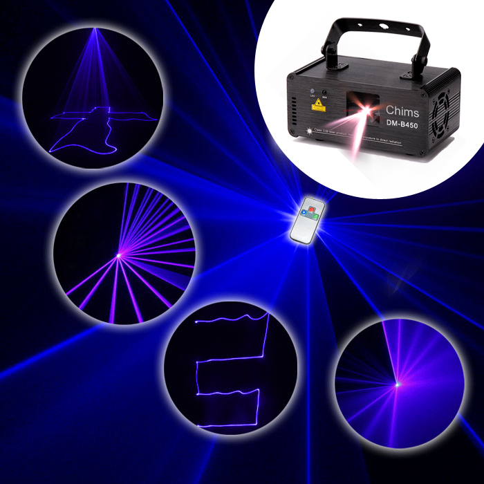 Chims DMX512 Control Stage Laser Lighting Blue Scanner Projector Colorful Powerful Bright Light Beam 450mW Channel Party Holiday