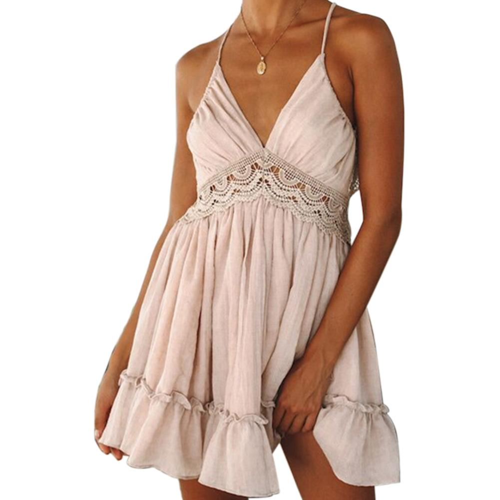 Women Sexy Backless Spaghetti Strap Lace Ruffles Beach Party Summer Slip Dress