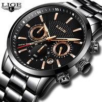 Мужские часы LIGE Топ люксовый бренд Мужские кварцевые часы деловые спортивные водостойкие повседневные Модные Военные мужские часы reloj hombre