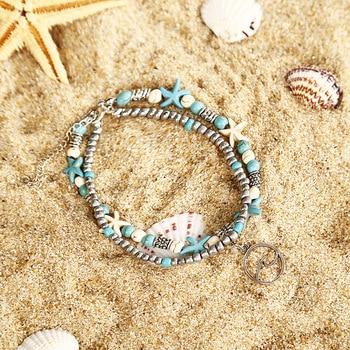 SEVENSTONE Natural Store 2PCS Boho Creative Double-footlet Starfish Rice Beads Enkelbandje Yoga Beach Summer Anklets for Woman 3