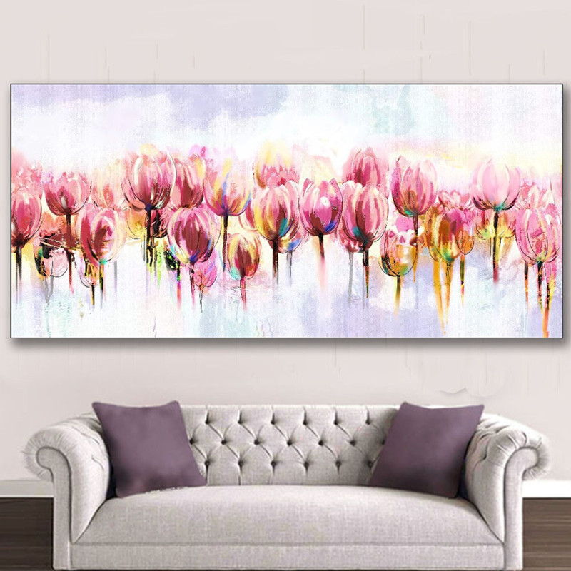 Hand Painted Flowers Oil Painting on Canvas Handmade Acrylic Floral Paintings Large Pink Tulip Flower Pictures