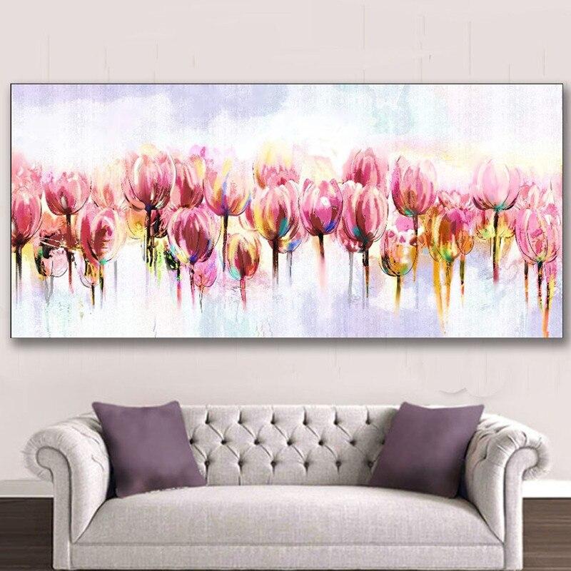 رسمت باليد لوحات الزهور النفط الطلاء على قماش اليدوية الاكريليك الزهور الكبيرة الوردي الزنبق زهرة الصور جدار الفن-في الرسم والخط من المنزل والحديقة على  مجموعة 1