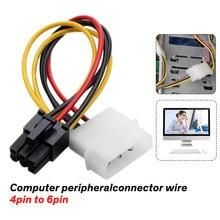 Tarjeta de vídeo pci express PCIE de PVC de 4 pines Molex a 6 pines Cable Adaptador convertidor de potencia de 20cm Cable Adaptador convertidor
