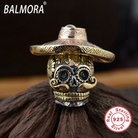 Unique 100 Real Pure 925 Sterling Silver Skull Pendant For Necklace Women Men Wearing Hats Skull