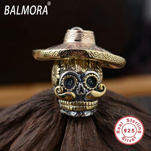 Hot 100% Real Pura Plata Esterlina 925 Lleva un Sombrero para Hombres Collares Colgantes Del Cráneo Cráneo Fresco Accesorios de la Joyería SY12423