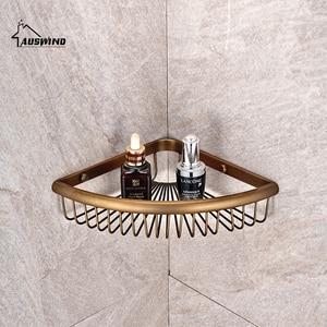 Antique Solid Brass Corner Shelf Brushed Bronze Basket Ceramic Storage/Bathroom Shelves Bathroom Accessories Products(China)
