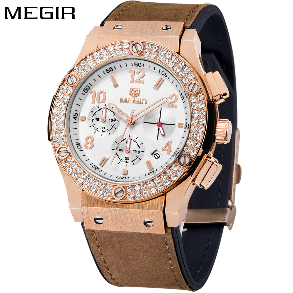 MEGIR Brand Luxury Women Watch Rose Gold Fashion Rhinestone Womens Watches Quartz Ladies Watch Leather Band Clock reloj mujer reloj mujer 2017 watch top brand luxury ladies watches womens quartz wrist watch waterproof clock women hours relogio feminino