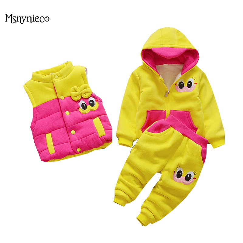 Winter Baby Girl Clothes Sets 2017 Casual Toddler Girl Suits Thicken Warm Coat Infant Cartoon Jacket+Vest+Pants 3Pcs Kids Suits toddler girls hello kitty clothes set winter thick warm clothes plus velvet coat pants rabbi kids infant sport suits w133