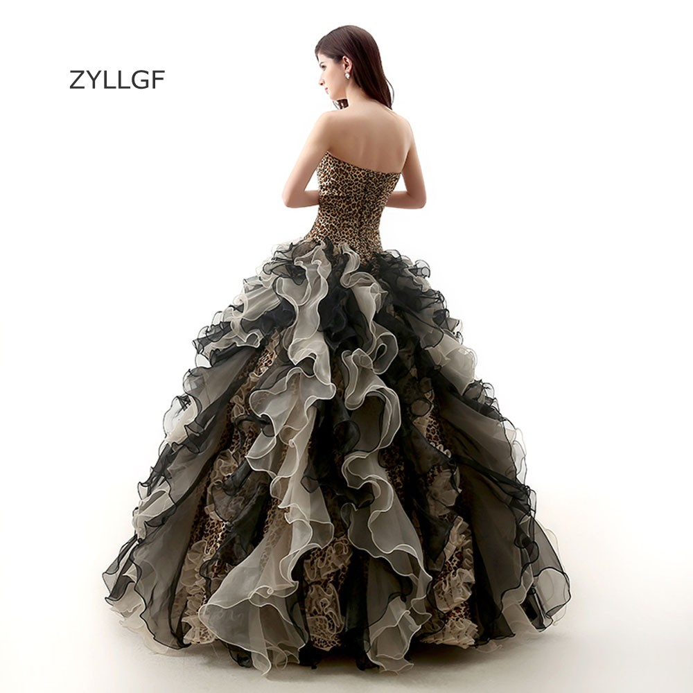 22144 Zyllgf Elegante Madre Vestidos De Fiesta Con Volantes Vestidos 15 Anos Modernos 2018 Corsé Volver Cebra Formal Vestidos Con Beadings Q220 En