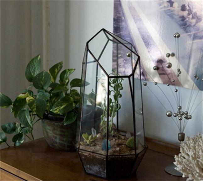 Vintage Home Decoration Tabletop Miniature Garden Vase Quartz Shape Solder Green House P ...