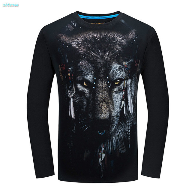 2017 Kid Clothes Hot Sale Boys T-shirt Long Sleeve Male 3D Wolf Slim Fashion Spring Autumn Plus Size Tops Tee 14 15 19 Years Old