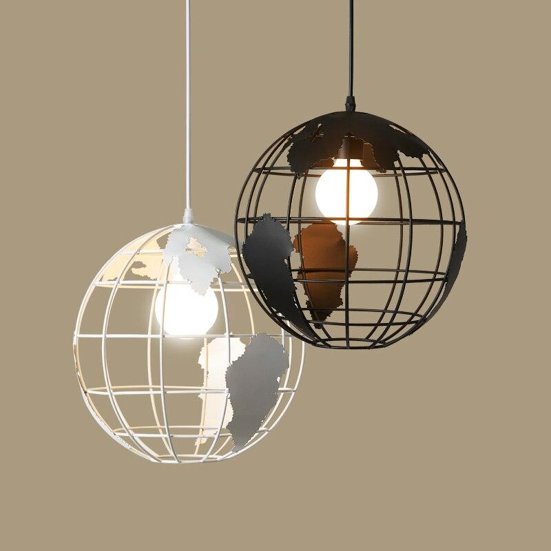 Globe Iron Pendant Light Loft Suspension Luminaire Creative E27 Restaurant Bar Pendant Lamp loft pendant lamp creative simple circle pendant light personality bar suspension luminaire restaurant cafe art deco lighting