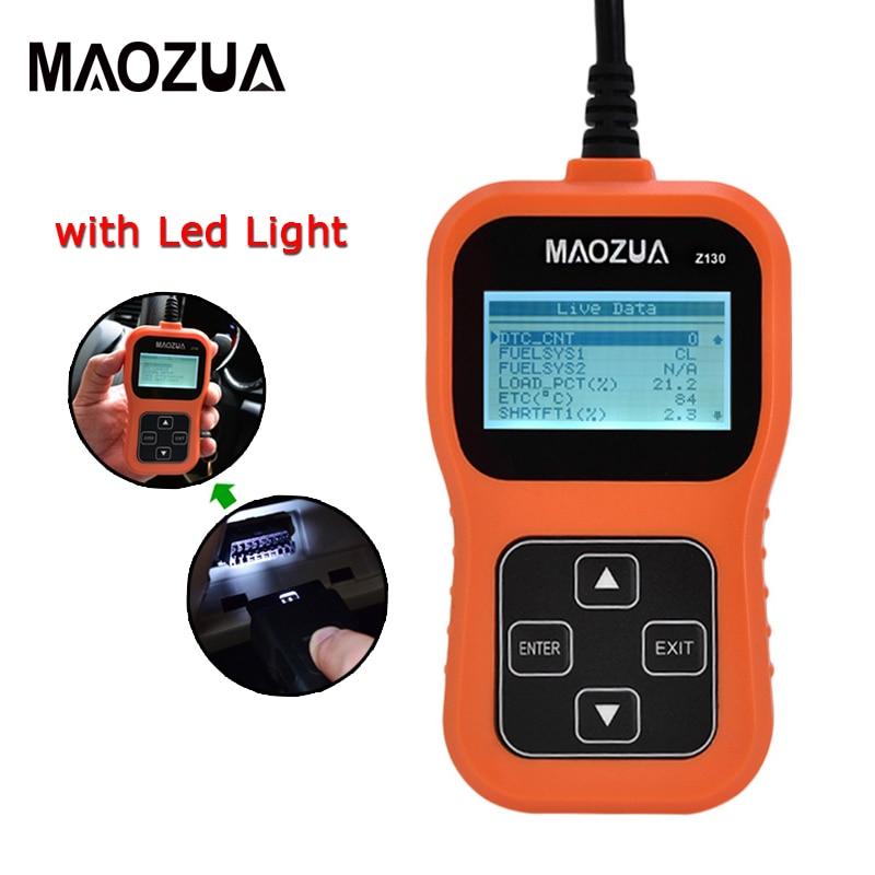 Maozua Z130 OBD 2 Gasoline Car Scanner Code Reader Support Full OBDII/EOBD Auto Scanner With Screen Pk AD310 OM123 ELM327 1.5