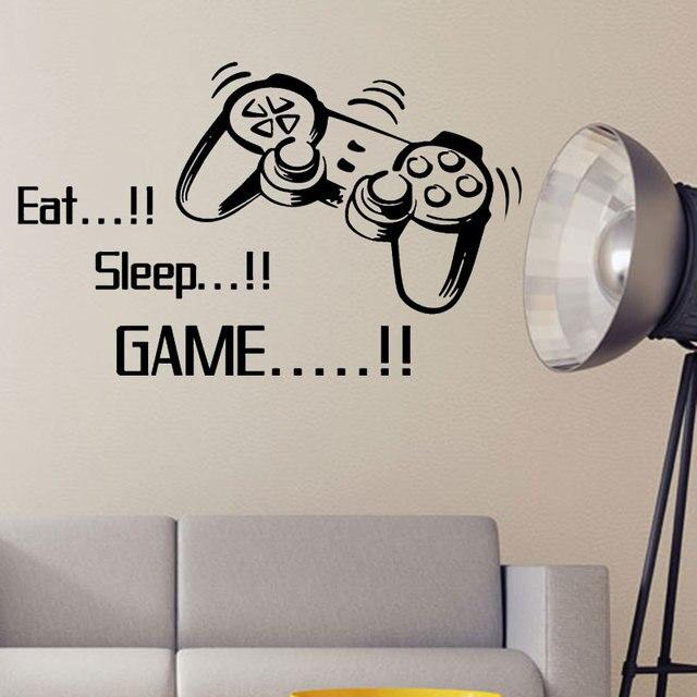 promotion eat sleep game vinyl wall art stickers gamer xbox ps3 boys