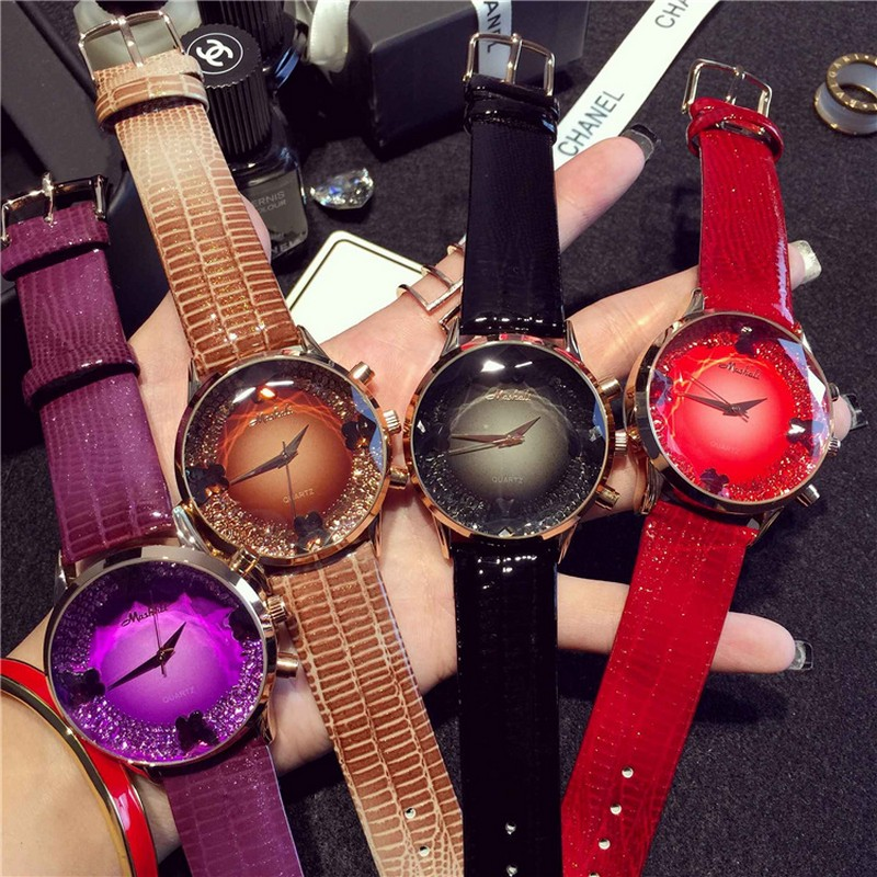 Lady Wrist Watch Quartz Woman Hours Best Fashion Dress Korea Bracelet Brand Leather With Multicolored Crystal relojes mujer 2016 best bags fashion lady 1301 71